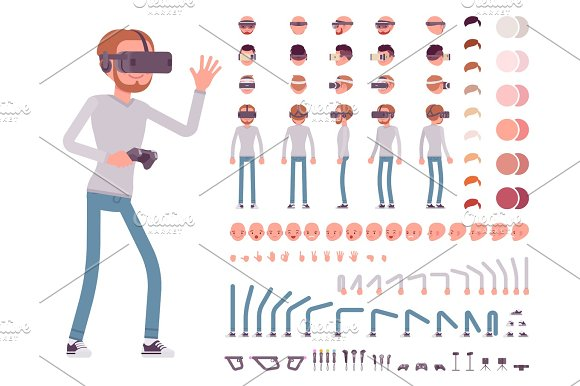 Man In Virtual Reality Headset Character Creation Set