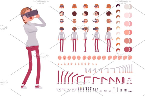 Woman In Virtual Reality Headset Character Creation Set