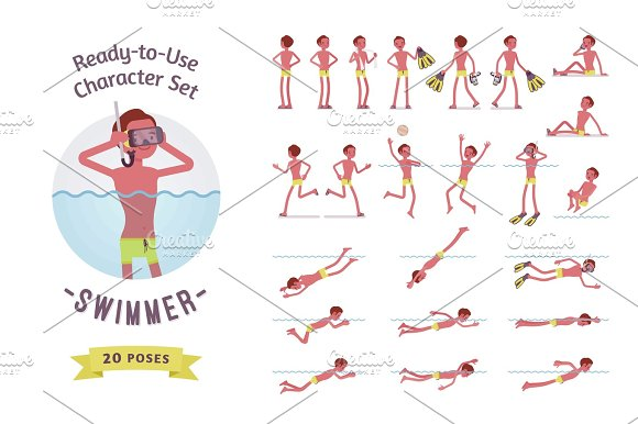 Ready-to-use Male Swimmer Character Set Various Poses And Emotions