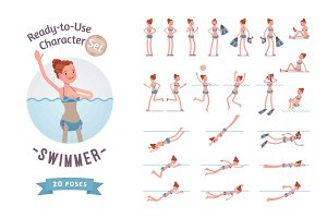 Ready-to-use female swimmer character set, various poses and emotions