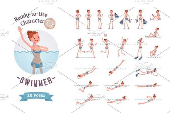 Ready-to-use Female Swimmer Character Set Various Poses And Emotions