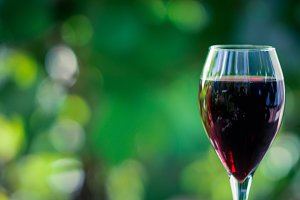 Glass with red wine