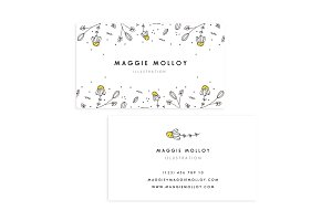 Floral Border Business Card Template