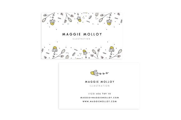 Floral border business card template card templates creative market floral border business card template cards accmission Images