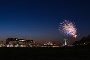 Skyline of city with firework