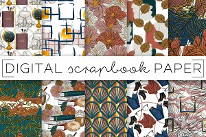 Fall Navy Green Rust Digital Papers