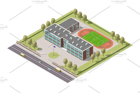 Vector Isometric Infographic Element Or University Building Flat Illustration On White Background