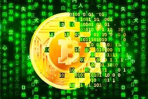 Bitcoin mining concept illustration