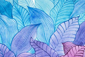 Aquarelle illustration of overlapping leaves drawn with cool color combination