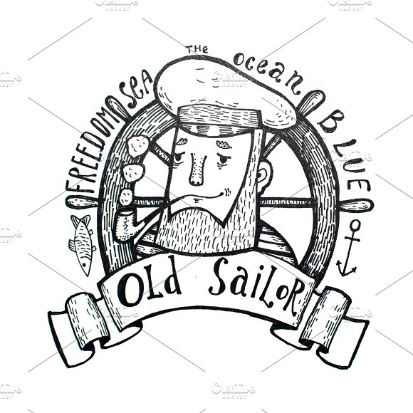 Hand Drawn Vintage Black And White Old Sailor