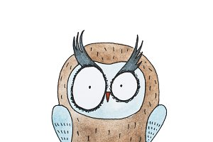 Cartoon owl hand drawn Watercolor aquarelle illustration