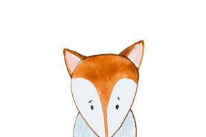 Hand painted sitting red fox Watercolor illustration