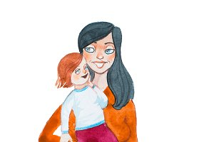 Watercolor drawing of happy mother holding and hugging her child