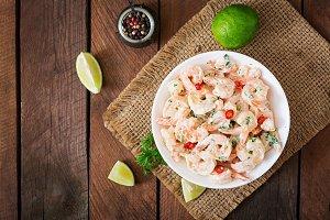 Shrimp in a creamy garlic sauce