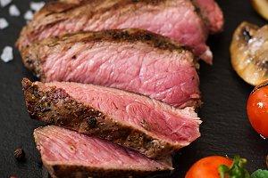 Juicy steak medium rare beef