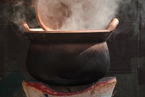 Open baked clay kettle