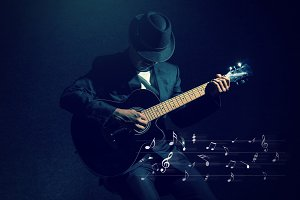 Musician playing the guitar