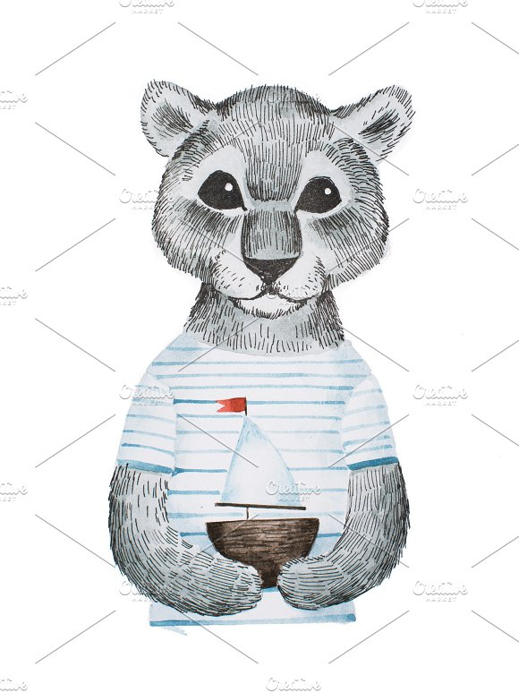Full-face Portrait Of Cute Panther Baby Wearing Striped T-shirt Holding A Toy Ship Hand-drawn With Pencil And Watercolors