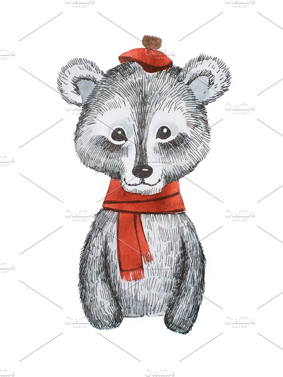 Adorable Cartoon Bear Wearing Red Scarf And Cap