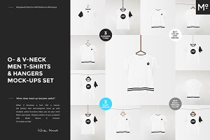 O-& V-neck Men T-shirts Mock-ups Set