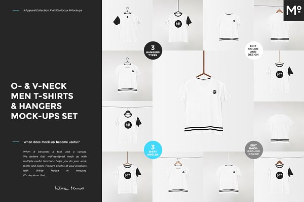 O-& V-neck Men T-shirts Mock-ups Se…