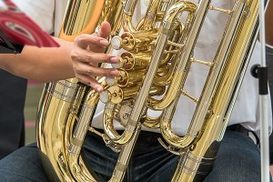 Golden tuba musical instrument