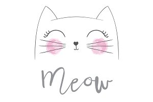 Cat vector / Cute Cat / Meow