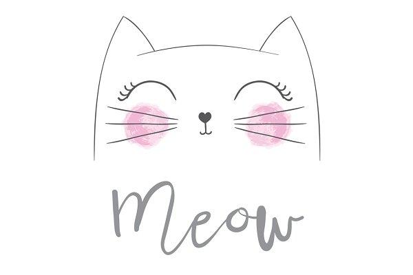 Cat vector / Cute Cat / Meow