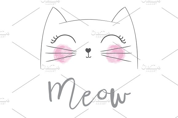 Cat Vector Cute Cat Meow