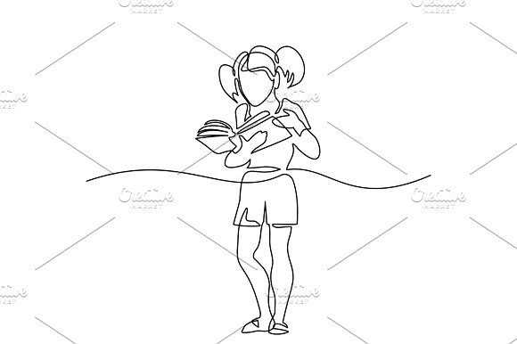 Girl Reading Book Back To School Concept