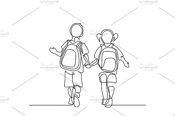Boy And Girl Going Back To School With Bags
