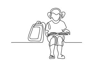 Girl reading book. Back to school concept.