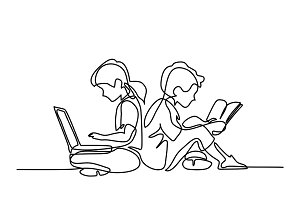 Boy and girl with notebook and reading book