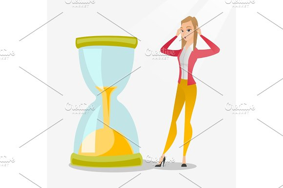 Desperate Business Woman Looking At Hourglass