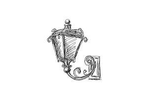 Vintage lanterns lamp, hand drawn