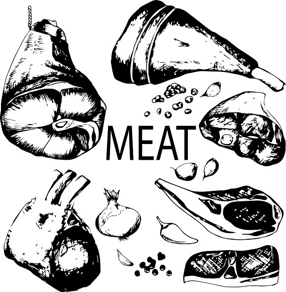 Hand Drawn Sketch Meat