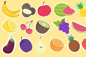 Hand drawn fruit stickers