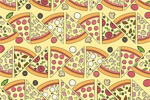 Pizza Pattern with ingredients