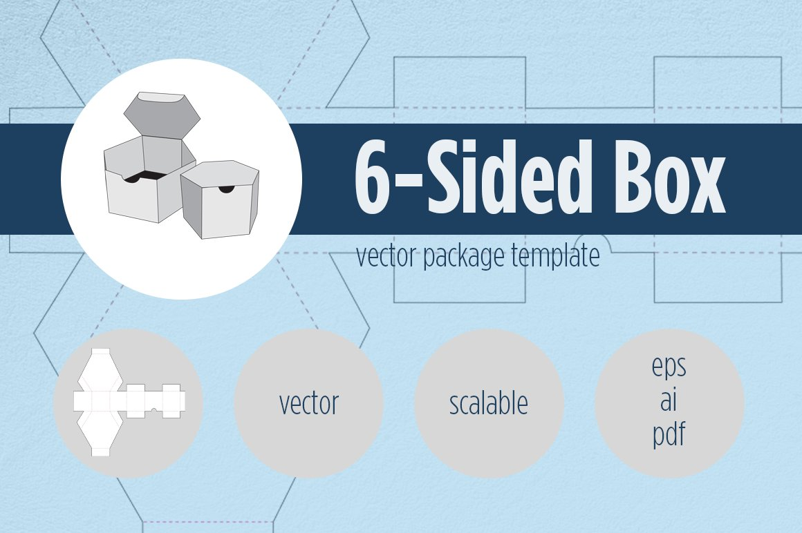 6 sided brochure template - 6 sided box package template templates creative market
