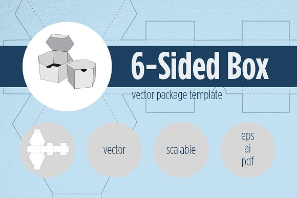 6 Sided Box Package Template Templates Creative Market