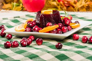 Fresh cranberry sauce and berries