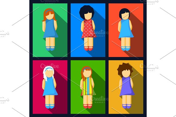 Set Of Girl Flat Icons With Colorful Dresses