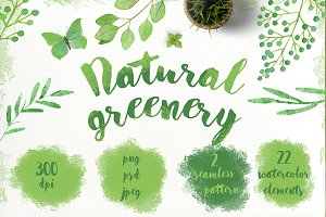 Watercolor natural greenery