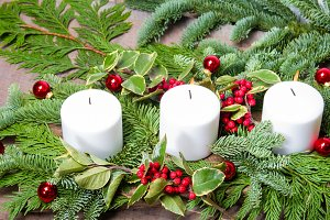 White candles in a centerpiece