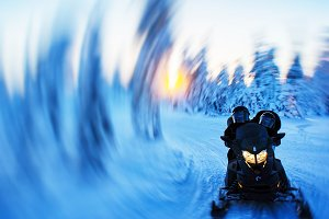 Snowmobile swirl abstraction background