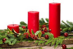 Red candles holiday decoration