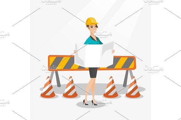 Engineer Watching A Blueprint Vector Illustration