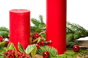 Two red candles in decoration