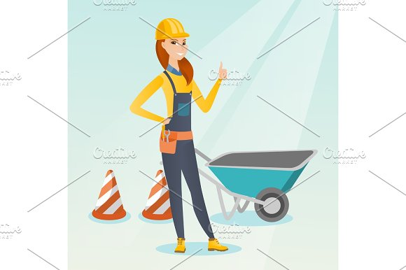 Builder Giving Thumb Up Vector Illustration