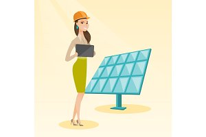Female worker of solar power plant.